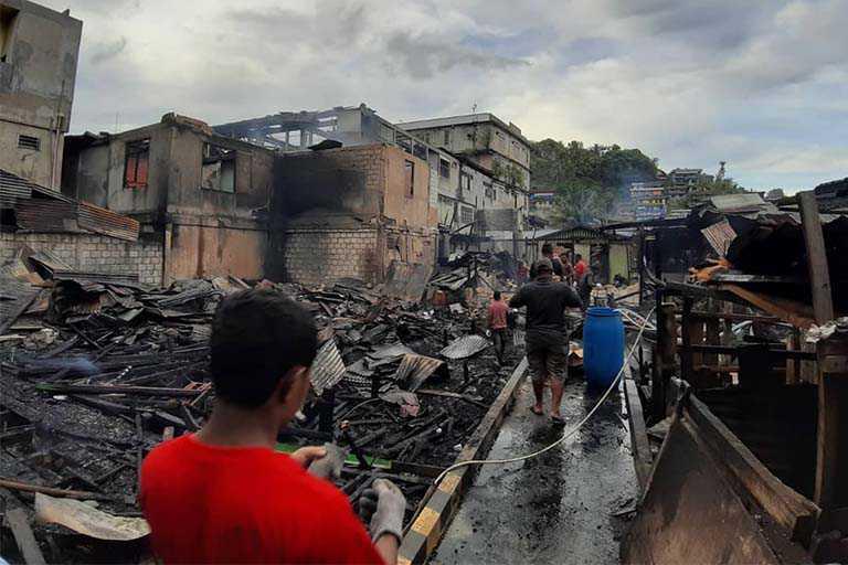 kebakaran ruko Pasar Hamadi