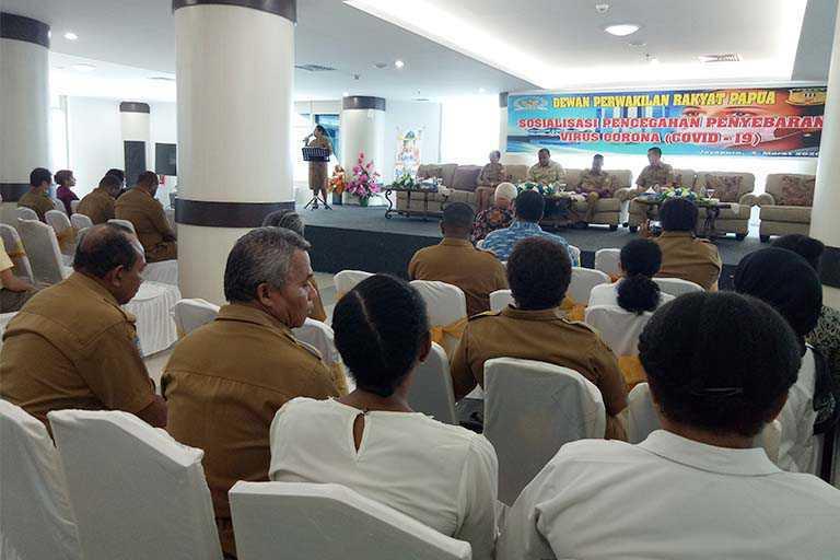 Sekretariat DPR Papua Sosialisasi Pencegahan Penyebaran Virus Corona
